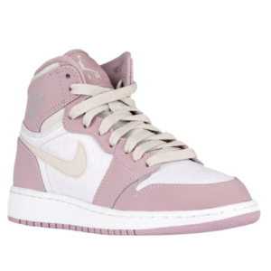 Jordan AJ 1 High - Girls' Grade School - Basketball - Shoes - Light Bone/Light Bone/Plum Fog/White