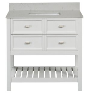 $399SCOTT LIVING Canterbury White 36-in Single Sink Poplar Bathroom Vanity with Engineered Stone Top (Mirror Included)