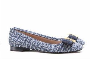 $175(原价$250)Tory Burch Gemini 淡蓝色印花蝴蝶结平底鞋