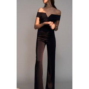 Satin Back Crepe Off-The-Shoulder Jumpsuit by Galvan | Moda Operandi