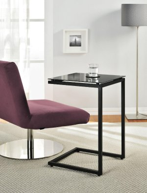 Altra Crane Glass Top C Table, Black