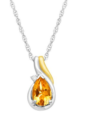 3/4 ct Citrine Pendant with Diamond