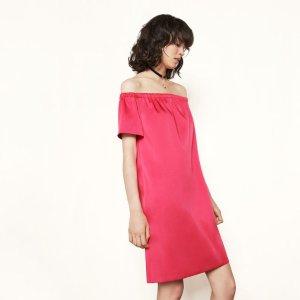 RENATO Satin off-the-shoulder dress - Dresses - Maje.com