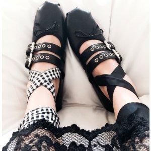 Miu Miu Metallic Leather Lace-Up Ballet Flats.
