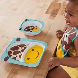 $12Skip Hop Baby Zoo Little Kid and Toddler Feeding Melamine Divided Plate and Bowl Mealtime Set