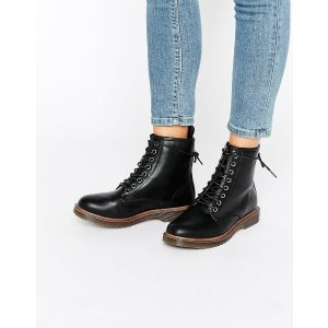 New Look Lace Up Ankle Biker Boots