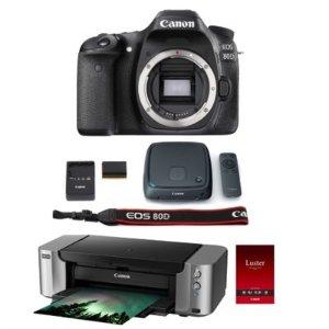 Canon EOS 80D 24.2 MP DSLR Camera Body w/ Pro 100 Printer/ Paper & CS100 1TB Hub
