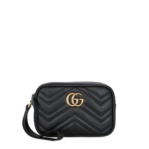 GUCCI - GG MARMONT 2.0 LEATHER POUCH - CLUTCHES - BLACK - LUISAVIAROMA