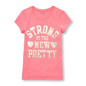 Girls Short Sleeve 'Strong Is The New Pretty' Neon Graphic Tee | The Children's Place