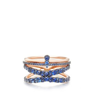 Rose Gold On Sapphire Seas Interstellar Ring Set | Astley Clarke London