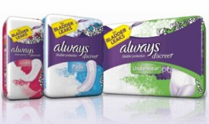 Free Always Discreet Underwear, Liner and Pad Samples