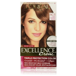 L'Oreal Paris Excellence Creme, 6CB Light Chestnut Brown, (Packaging May Vary) : Chemical Hair Dyes
