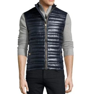 Burberry Brit Trowby Lightweight Quilted Down Vest, Navy @ Neiman Marcus