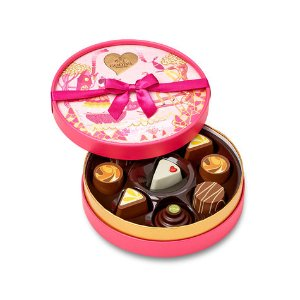 Valentine's Day Slices of Love Round Chocolate Gift Box, 9 pc. | GODIVA
