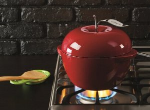 Lodge L Series E3AP40 Enameled Cast Iron Apple Pot, Patriot Red, 3-Quart