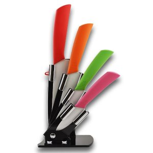 6-piece High Quality Ceramic Knife Set with 4 Various Sized Knives, a Peeler, and an Acrylic Holder