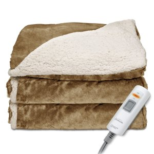 Sunbeam Reversible Sherpa/Mink Heated Throw, Honey, TRT8WR-R230-25A00