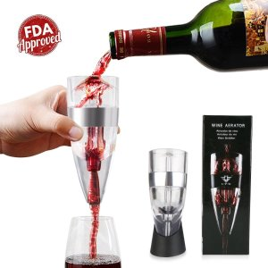 Deik Wine Decanter Portable & Artistic Glass with Stainless Steel