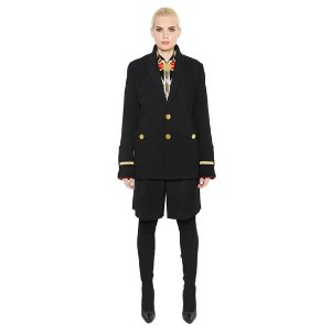 GIVENCHY WOOL CANVAS & VELVET MILITARY STYLE COAT