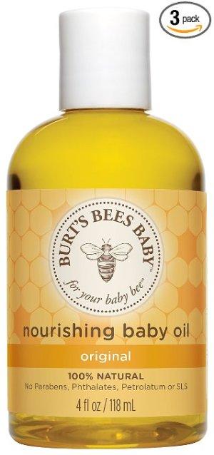 Burt's Bees Baby Bee 100% Natural Nourishing Baby Oil, 4 Fluid Ounce Bottles (Pack of 3)