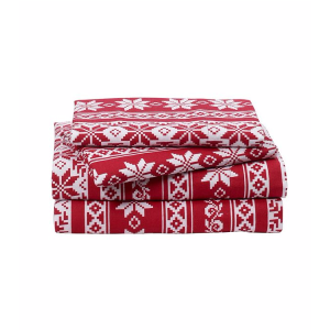 LivingQuarters Heavy-Weight Fair Isle Patterned Flannel Sheet Set | Bon-Ton