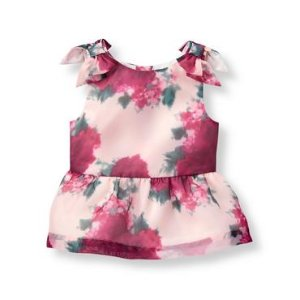 Baby Girl Cranberry Floral Floral Organza Top at JanieandJack