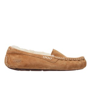UGG Women's Ansley Moccasin Suede Slippers - Chestnut - FREE UK Delivery