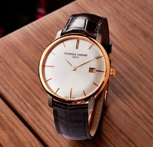 Frederique Constant Men's FC306V4S5 Slim Line Analog Display Swiss Automatic Brown Watch