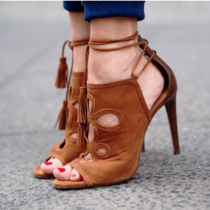 Aquazzura Get Me Everywhere Suede Heels in Caffe | FWRD