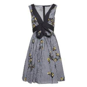 Floral Gingham Gathered V-Neck Dress