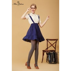 School Memory Skirt (Navy) - Miss Patina - Vintage Inspired Fashion
