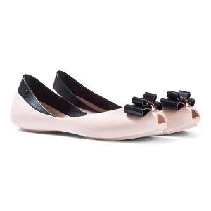 Mini Melissa Nude and Black Contrast Bow Ballet Pumps | AlexandAlexa