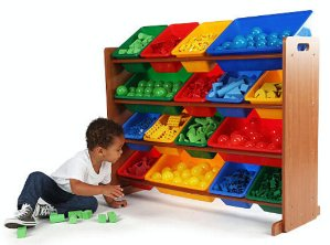 $44.99Tot Tutors Focus Super-Sized Toy Storage Organizer with 16 Plastic Primary Colored Bins
