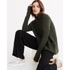 Womens Boxy Cable Turtleneck Sweater