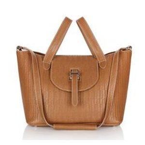 Luxury italian woven leather thela handbag light tan