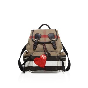 Sequin Heart Canvas Rucksack by Burberry