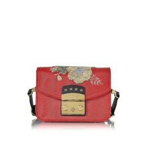 Furla Red Peperoncino Embroidered Satin Metropolis Floral Mini Crossbody Bag