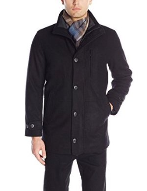 $65.91 London Fog Men's Antone Fitted Car Coat with Scarf