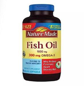 2 for $14.99 Nature Made Fish Oil 1000mg, 300mg Omega-3, Liquid Softgels