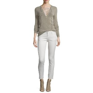 Iro Alida Lace-Front Knit Top & Jarod Cropped Skinny Jeans
