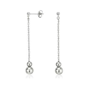Graduated Bead Drop Earrings in Platinum | Blue Nile