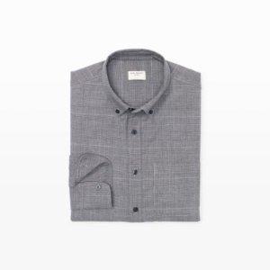 Mens   Solid   Slim Houndstooth Flannel Shirt   Club Monaco