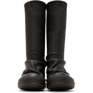 Rick Owens: Black Leather Sock High-Top Sneakers