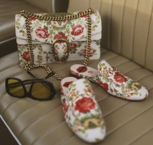 Exclusive GUCCI FOR NET-A-PORTER Horsebit-detailed floral-print canvas slippers @ Net-A-Porter