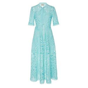 Berry Lace Neck Tie Dress