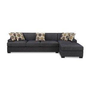2 Piece Contemporary Grey Sectional Sofa - Sofamania