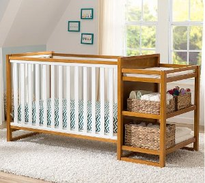 Delta Children Gramercy Convertible Crib and Changer + Free Mattress