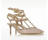 Valentino Rockstud Poudre Patent Leather Mid Heel Ankle Strap Pump 36 (6 US | 3 UK | 36 EU) at FORZIERI