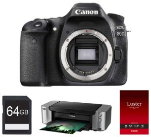 Canon EOS 80D 24.2 MP CMOS DSLR Camera Body, Pro-100 Printer, Paper & 64GB Card Bundle