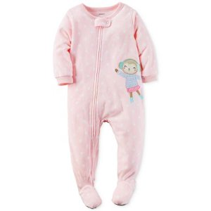 Carter's 1-Pc. Dot-Print & Monkey Footed Pajamas, Baby Girls (0-24 months)